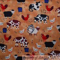 BonEful FABRIC FQ Cotton Quilt Brown B&W VTG Farm Animal Duck Rooster Cow Sheep