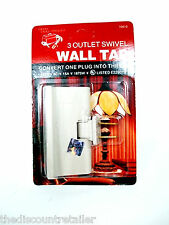 NEW 3 OUTLET WALL TAP 2 PRONG SWIVEL ADAPTOR INDOOR 125V AC 15A PLUG UL ADAPTER