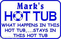 """Personalized What Happens Here Swimming Pool Metal Sign #6  Custom 12/"""" x 18/"""""""