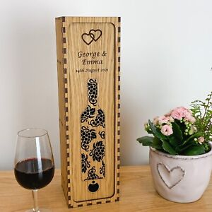 Personalised Oak Wine Box Wedding Gift Couple Birthday Anniversary Retirement