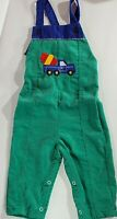 Vintage Health-Tex Toddler 24 mo Overalls Pants Green Blue Corduroy USA Truck