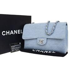 Authentic CHANEL CC Quilted Chain Shoulder Bag Canvas Leather Blue 48Q527