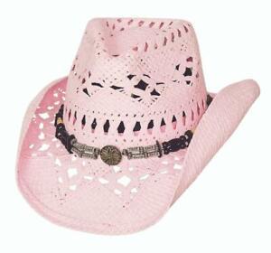 NEW - ALL SUMMER LONG Pink Toyo Straw Western Cowboy Hat Bullhide MonteCarlo