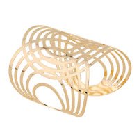 Fashion Women Gold Big Wide Hollow Bracelet Multilayer Bangle Open Cuff Jewelry
