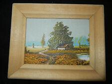 Cuadro al óleo con Marco de madera, pintado a mano, Paisaje (mi Artículo nº 06)