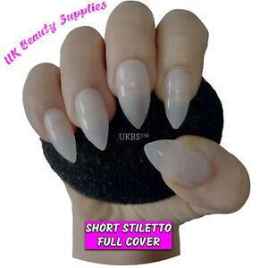 600 Short Stiletto NATURAL Full Cover Press On Acrylic False Nails Tips UK