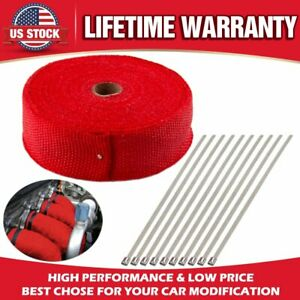 "Roll x 2"" 50Ft RED Fiberglass Exhaust Header Pipe Heat Wrap Tape+10 Ties Kit US"