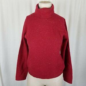 LL Bean Merino Wool Angora Turtleneck Sweater Womens XS Mottled Red Lightweight