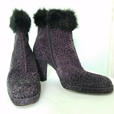 Vintage Size 7 Bis Charles Jourdan Purple Leopard Platform Ankle Boot Fur Trim