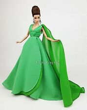 Green Chiffon Ball Gown Evening Dress Outfit For Silkstone Fashion Royalty FR