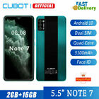 5.5 Inch Cubot Note 7 4g Dual Sim Android 10 Face Id Mobile Smart Phone Unlocked