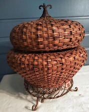 New ListingPort Of Call Decorative Nesting Baskets Woven & Iron 18 tall x 16W Multi Baskets