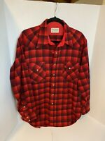 Pendleton Red/Black Plaid 100% Virgin Wool Shirt With Pearl Snaps Size L