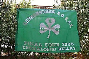 PANATHINAIKOS BC BASKET BALL FINAL FOUR 2000 THESSALONIKI GREECE BANNER FLAG