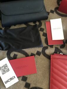 1 Valentino Sunglasses Empty Box, Carry Case & Pouch Black/Red Papers.