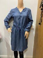 Levis chambray denim long sleeve shirt dress size S 10 knee length