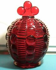RARE Ruby Red INDIANA GLASS TIARA Dewdrop Candy Dish w/ Lid museum quality + BOX