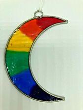 Rainbow Moon Coloured Suncatcher Glass Multicoloured Moon NHS LGBT