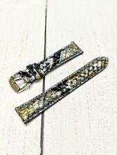 NOS Ladies Fashion Watch Strap Band 18mm - Blue Gold Metal Python Quick Release