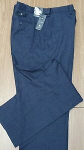 "MARKS & SPENCER Mens Reg Fit Navy Blue Wool Rich Trousers 44"" Wst 33"" I/L"
