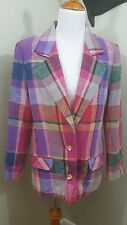 Vintage Lorch Women's 12 Pink Purple Plaid Two Button Blazer Jacket Lined A5
