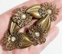 Antique Victorian Brass Leaf Filigree Flowers Clear Paste Stones Sash Pin Brooch