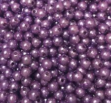 250 X 6mm Purple Mauve Acrylic Pearl Beads