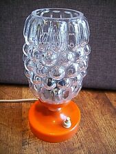 Vintage Retro 60s/70s Orange Based Bubble Glass Shade Table Top Lamp -Lighting