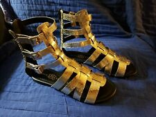 ROCK & REPUBLIC - Lunar Gold & Black - Gladiator Sandals - Zipper Back SIZE - 6