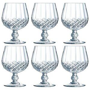 Eclat Cristal d'Arque Longchamp Stemmed Brandy Cognac 320ml Crystal Glasses Set