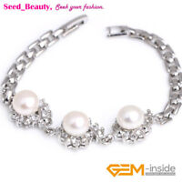 9-10mm Freshwater Pearl Gold Plated Bracelet Fashion Jewelry Gift with Box