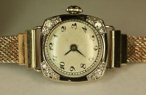 Antique 18K White Gold .32 CT Diamond Enamel Cushion Ladies Dainty Vtg Watch