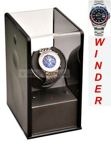 Luxury Display Carbon Fibre look Single Automatic Watch Winder-Carbon Velvet-MP1