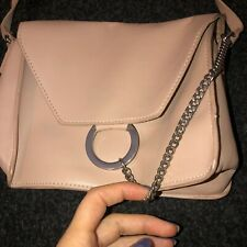 Pull And Bear Nude Crossbody Silver Chain Bag
