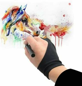 Two Finger Anti-fouling Glove Drawing & Pen Graphic Tablet Pad For Artist Black