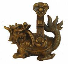 Brass Dragon Tortoise Statue Carrying Ru Yi