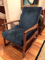 Genuine Vintage Parker Teak Lounge Armchair in Original Cobalt Blue Upholstery
