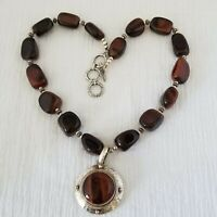 """Doug Paulus dP India Hammered Sterling Silver Red Tiger's Eye 19.5"""" Necklace"""