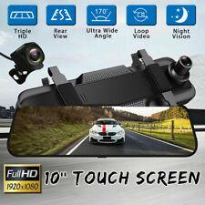 "1080P 10"" HD Dual Lens Car DVR Dash Cam Video Camera Recorder + Rearview Mirror"