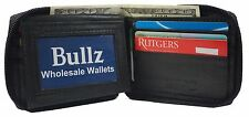 New Mens Bifold Zipper Around Leather Wallet Black Billfold With ID Window