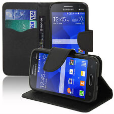 Housse Etui NOIR Portefeuille Effet Tissu Samsung Galaxy Core II/ core 2 Double