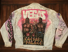 Air Brush Mike Tyson Evander Holyfield Boxing Guess USA Jean Jacket Adult Large
