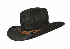 Ladies Straw Cowboy Hat Jacaru Sun Beach Summer Holiday One Size New Band Brim