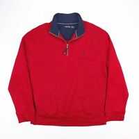 Vintage NAUTICA Red Embroidered 1/4 Zip Pullover Sweatshirt Size Men's XL