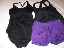 DANCE/GYMNASTIC LEOTARD, BOOTY SHORTS AND 2 TOPS - ADULT SMALL& PETITE