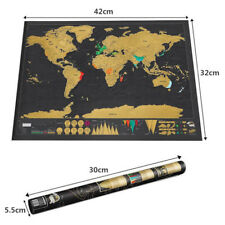 Deluxe Travel Edition Scratch Off World Map Poster Personalized Journal Log Maps