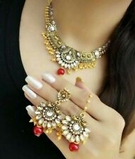 Indian Goldplated Imitation Necklace Set/Red Pearl Ethnic Necklace Earring Tikka