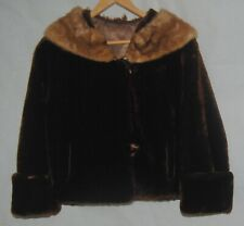 Vintage New Yorker Dyed Lamb Fur Coat Real Mink Collar Finest Luxury Mouton