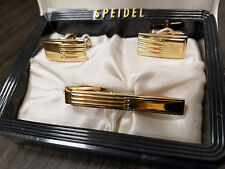VINTAGE SPEIDEL Gold Tone MENS SET CUFFLINKS & TIE CLIP In BlacK White Case