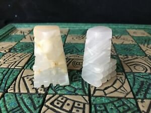 Vintage 70's Onyx Hand Carved Chess Pieces set of two WHITE PAWNS 2 x 1